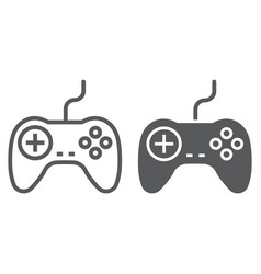 Gamepad line and glyph icon electronic vector