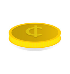 Gold coin with the symbol of the cent vector