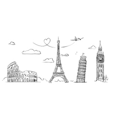 hand drawn sights europe vector image