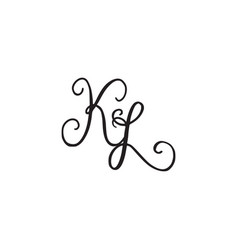 handwritten monogram icon vector image