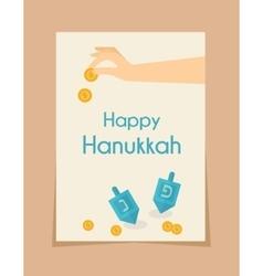 Hanukkah game hand spining dreidel vector
