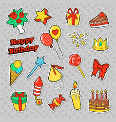 Happy birthday party stickers with cake vector