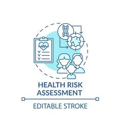Health risk assessment blue concept icon vector