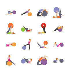 Healthcare and fitness exercises flat icons vector