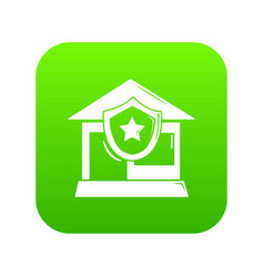 house protection icon green vector image