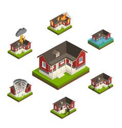 Household insurance isometric set vector