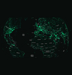 Hud world map with global technology and vector