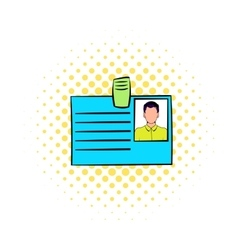Identification card icon in comics style vector
