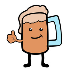 isolated beer mug cartoon character vector image