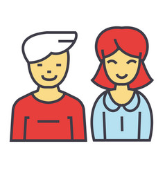 man and woman concept line icon editable vector image