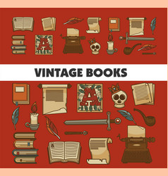 manuscript and history vintage books old textbooks vector image