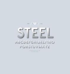 Metal chrome sans serif font vector