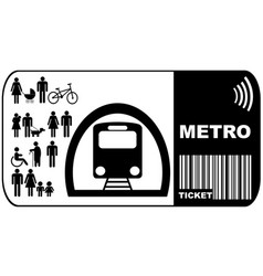 Metro ticket isolated on white background vector