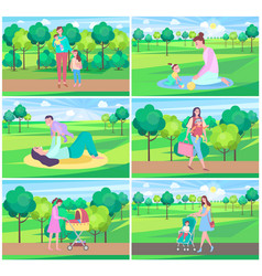 Mother and baspending time together park set vector