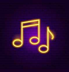 Music notes neon sign vector