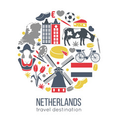 Netherlands travelling sketch for tourists vector
