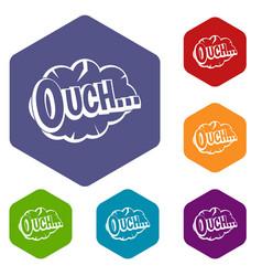 Ouch speech cloud icons set hexagon vector