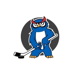 Owl ice hockey player with stick vector
