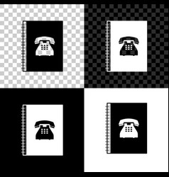 phone book icon isolated on black white and vector image