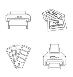 printer credit card color palettetypography set vector image