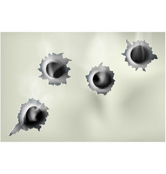 ragged hole in metal from bullets vector image
