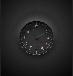 Realistic deep black round clock cut out on vector