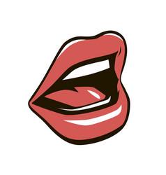 red lips retro temptation kiss love seductive vector image