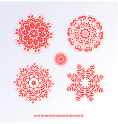 Red snowflakes and christmas stars vector