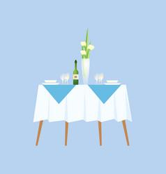 restaurant elegant interior romantic table decor vector image