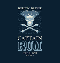 Retro banner on theme captain rum vector