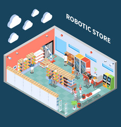 Robotic store isometric composition vector