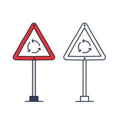 roundabout circulation sign line icon roundabout vector image