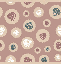 Seashells on dots seamless pattern in vector