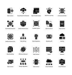 set data science glyph icons vector image