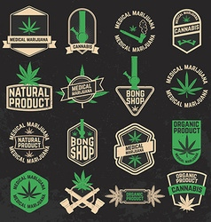 Set of cannabis marijuana bong shop labels badges vector image