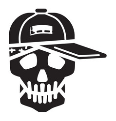 Skull in cap icon simple style vector