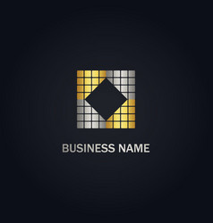 Square abstract gold company logo vector