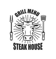 Steakhouse emblem template with cow head and vector
