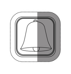 Sticker of monochrome rounded square with bell vector