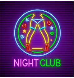 Striptease club neon sign vector