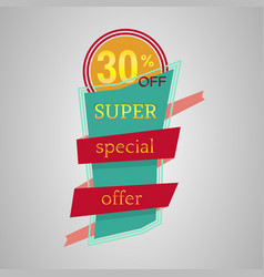 super special offer banner with ribbon vector image