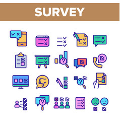 Survey rating color elements icons set vector