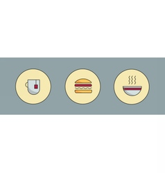 Tea hamburger and soup vector