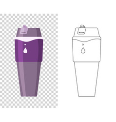 Thermos vacuum flask or bottle with hot vector