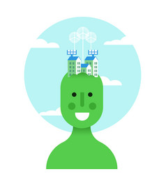 think green idea concept with eco friendly man vector image