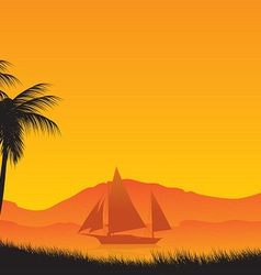 Three palm trees against the ocean and the yacht vector image