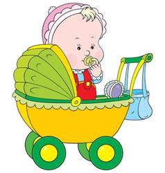 Toddler in a pram vector