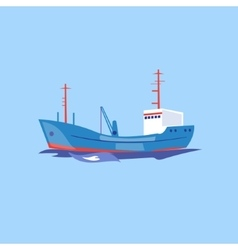 Transportation ship on the water vector