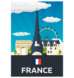 Travel poster to france flat vector