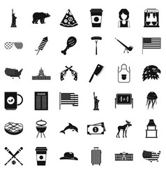 Usa flag icons set simple style vector